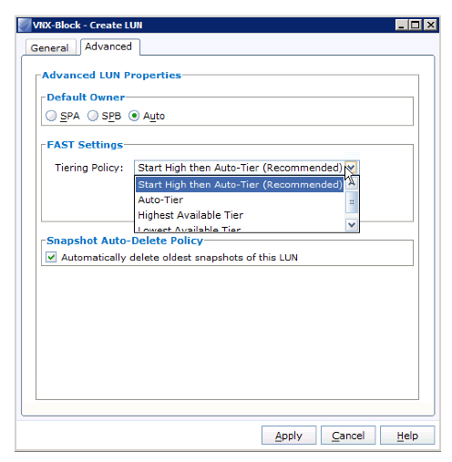 VNX Select Tiering Policy