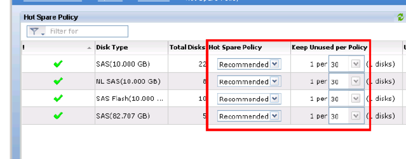 VNX2 Hot Spare Policy Settings